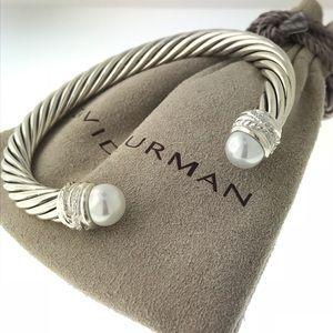 David Yurman Pearl 7mm Crossover Diamond Cuff
